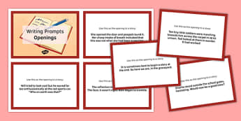 Ten Openings for Writing Prompts Cards - ten openings, writing prompts, cards