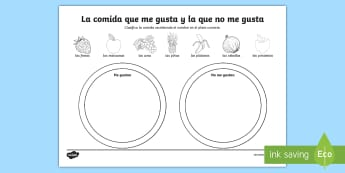 Foods I Like and Dislike Activity Sheet - Spanish, Vocabulary, KS2, food, like, dislike, activity, sheet, worksheet, sorting, categories, eati