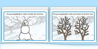 Winter Playdough Mats - Winter, Playdough, mat, penguin, huskey, snow, winter, frost, cold, ice, hat, gloves