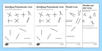 Identifying Parallel and Perpendicular Lines Activity Sheet Pack - maths, parallel, perpendicular, horizontal, vertical, lines, worksheet