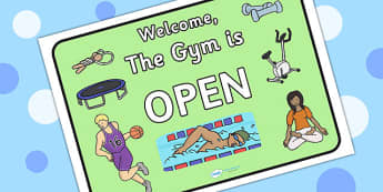 Gym Role Play Open Sign - roleplay, health, signs, props, PE