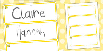Buttercup Themed Editable Drawer-Peg-Name Labels (Blank) - Themed Classroom Label Templates, Resource Labels, Name Labels, Editable Labels, Drawer Labels, Coat Peg Labels, Peg Label, KS1 Labels, Foundation Labels, Foundation Stage Labels, Teaching La