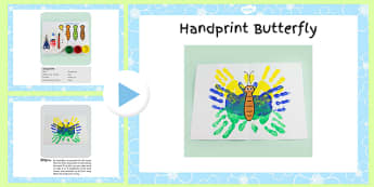 Handprint Butterfly Craft Instructions Powerpoint- craft, powerpoint, hand
