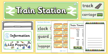 Train Station Role Play Pack - Train Station role play, display, banner, poster, post office, role play, train, station, tickets, platform, trains, waiting room, timetable, luggage, whistle