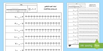 ايجاد العدد الناقص باستخدام خط الأعداد - العدد الناقص، خط الأعداد، حساب، الجمع، الطرح، ورقة عمل