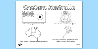 Western Australia Colouring Sheet - australia, colouring, flag, coat of arms, floral emblem, flag, map, Australia, Art, Geography, states, territories