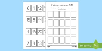 Ficha de actividad: Ordenar números - 1-20 - ordenar números, 1-20, 1 al 20, uno a veinte, orden, números, mates, matemáticas actividad,Spanis
