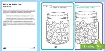 Fill the Jar Chart Parent and Carer Information Sheet -  routine, organisation, help, advice, support, behaviour, reward
