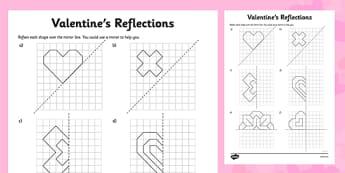 Valentine's Reflection Activity Sheet - reflection, symmetry, valentines, activity, sheet, worksheet