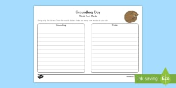 Groundhog Day Synonym Work Activity Sheet - Groundhog Day, winter, hibernation, facts, research