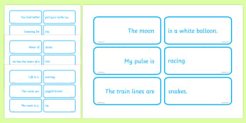 Matching Metaphor Game - paired metaphors, metaphor, match, phrase, saying, game, activity
