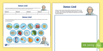 James Lind Vitamin C Differentiated Research Activity Sheets-Scottish, worksheet