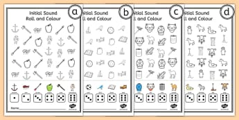 Roll and Colour Initial Sounds Activity Sheet Pack - Roll, Colour, worksheet