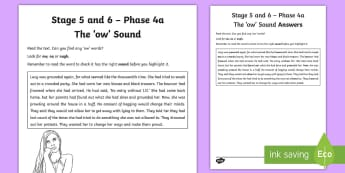 Northern Ireland Linguistic Phonics Stage 5 and 6 Phase 4a 'ow' Activity Sheet  - NI,  Worksheet, sound search, text