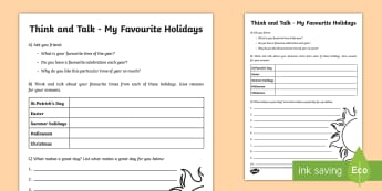 Think and Talk My Favourite Holidays Activity Sheet-Irish - Oral Language Activity Sheets, talk and discussion,listening skills,talk about the picture.holidays,