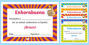 Spanish End of Year Attitude Award Certificate
