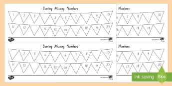 Bunting Missing Number to 20 Activity Sheet - New Zealand, maths, number ordering, missing number, Years 1-3, age 5, age 6, age 7, numbers to 20,