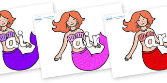 Phase 3 Phonemes on Mermaids - Phonemes, phoneme, Phase 3, Phase three, Foundation, Literacy, Letters and Sounds, DfES, display