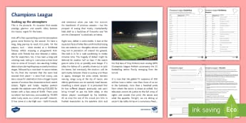 Champions League Differentiated Reading Comprehension Activity - Sport, Football, Soccer, Champions League, Describe, Atmosphere