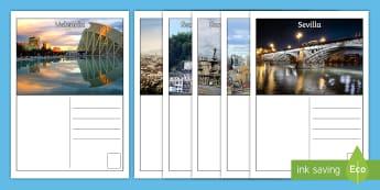 Cardiau Post Gwyliau yn Sbaen Taflen Weithgaredd  - ysgrifennu, cerdyn post, gwyliau, teithio, ewrop, canoldir, Spain, Postcard,Welsh