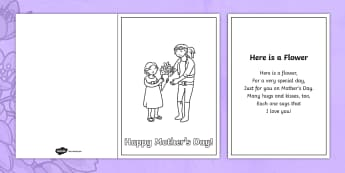 Here is a Flower Rhyme Mother's Day Rhyme - Mother's Day Verse, verses, rhyme, song, lyrics,rhymin