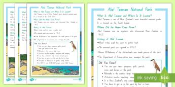 Abel Tasman Differentiated Fact File - Abel Tasman, fact file, geography, my place, landmarks, national parks, New Zealand, Aotearoa