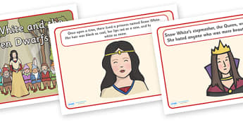 Snow White and the Seven Dwarfs Story Sequencing - Snow White and the Seven Dwarfs, Snow White, Dwarfs, Seven Dwarfs, traditional tale, sequencing, story sequencing, story resources, A4, cards, tale, magic mirror, the queen, prince, forest, old hag,