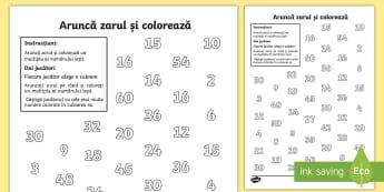 Aruncă zarurile și colorează produsul Fișă de activitate - înmulțiri, produs, exerciții, fișe, proba înmulțirii,Romanian