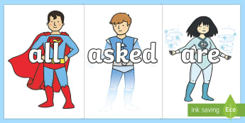 Tricky Words on Superhero - Tricky words, DfES Letters and Sounds, Letters and sounds, display, words