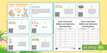 Easter Maths: Addition and Subtraction Code Hunter - KS1, Key Stage One, Maths, Numeracy, Addition, Subtraction, Year 1, Year 2, Mathematics, Problems, A