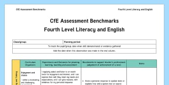 CfE Benchmarks Fourth Level Literacy and English Assessment Tracker-Scottish