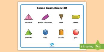 Forme Geometriche 3D Vocabolario Illustrato - vocabolario, illustrato, figure, geometriche, 3D, geometria, matematica, italiano, italian