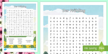 Spring Vocabulary Word Search - Spring, Frühling, Word Search