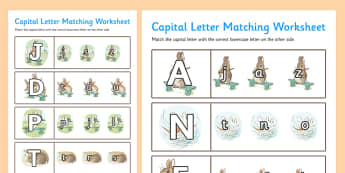 Beatrix Potter - The Story of a Fierce Bad Rabbit Themed Capital Letter Matching Worksheet - beatrix potter, fierce, bad, rabbit