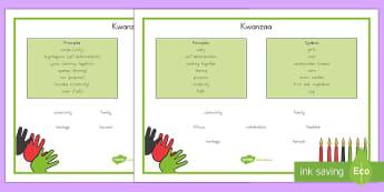 Kwanzaa Word Mats - Kwanzaa, vocabulary, black history, festivals, words, swahili