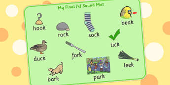 Final K Sound Word Mat - final, k, sound, word mat, word, mat