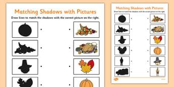 Thanksgiving Shadow Matching Worksheet -  worksheets, shadows