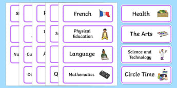 Visual Timetable Subject Cards Signs and Labels