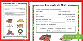 Feuille d'activités : Phrases à trous - Noël  - Noël, Christmas, phrases, blancs, trous, remplir, mots, blank, fill, gaps, lecture,French