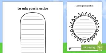 La mia poesia estiva Esercizio di Scrittura - poesia, esercizio, di, scrittura, scrivere, estate, estiva, vacanze, italiano, italian, materiale, s