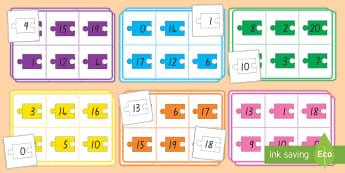 Number Bonds to 20 (Jigsaw pieces) Bingo - New Zealand, number bonds, number bonds to 20, matching, bingo, Years 1-3