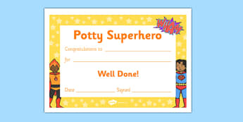 Potty Superhero Certificate - potty superhero certificate, potty, pot, superhero, toilet, certificates, award, well done, reward, medal, rewards, school, general, certificate, achievement