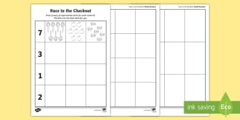 Race to the Checkout Numbers Activity Sheet - ROI, Pictures, Exploring My World, Aistear,Irish, Worksheet, count, draw