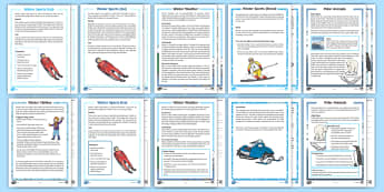 KS1 Winter Themed Differentiated Reading Comprehension Resource Pack - Winter, fact file, seasons, snow sports, winter animals, arctic animals, arctic and polar regions