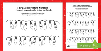 Christmas Fairy Light Missing Numbers Counting in 2s 3s 5s 10s Activity Sheet English/Italian - Christmas Fairy Light Missing Numbers Counting in 2s, 3s, 5s and 10s Activity Sheet - christmas, fai