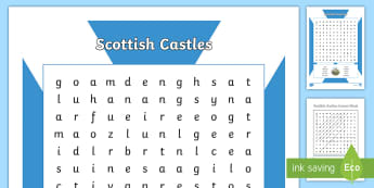 Scottish Castles Word Search - Scottish Castles, word search, Scotland, Scottish history,Scottish