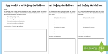 Humpty Dumpty Egg Health and Safety Writing Template - Humpty Dumpty, health and safety, writing template, folklore, fairytale, worksheet, activity sheet,