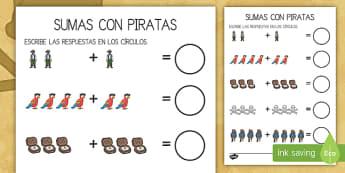 Ficha de actividad: Sumas - Piratas - adición, sumas, sumar, suma, piratas, pirata, aventura, fantasía, mates, matemáticas, ficha, ,Spa