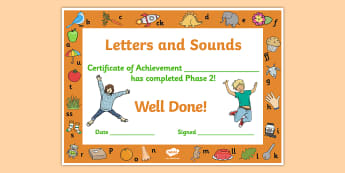 Letters and Sounds Award Certificates Phase 2 - Letters And Sounds, Phase 2, Letters Certificate, Sounds Cerificate, Phase 2 Certificate