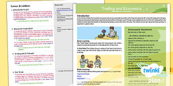 PlanIt Geography Year 6 Trade and Economics Planning Overview